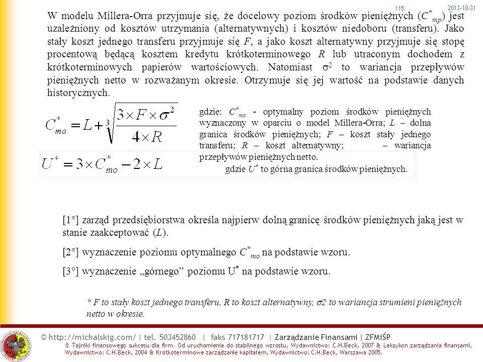 [2] wyznaczenie poziomu optymalnego C*mo na podstawie wzoru.